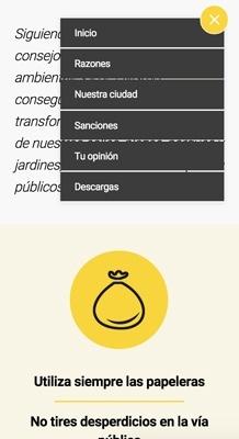 diseño web con Jimdo para para campaña de limpieza viaria de Ayuntamiento, versión móvil