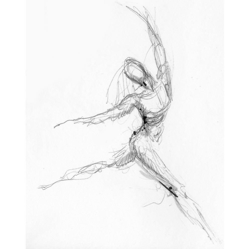 Tanzskizze, aus dem Skizzenbuch - Graphit - H. Franz