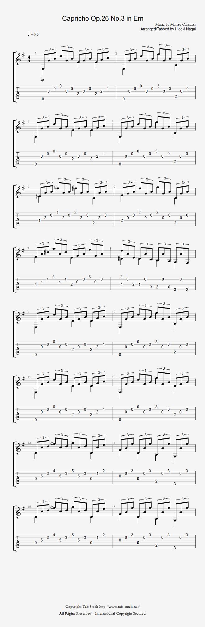 クラシックギター楽譜(タブ譜)初心者・練習曲 カルカッシの6つのカプリース(Op.26 No.3 in Em)1