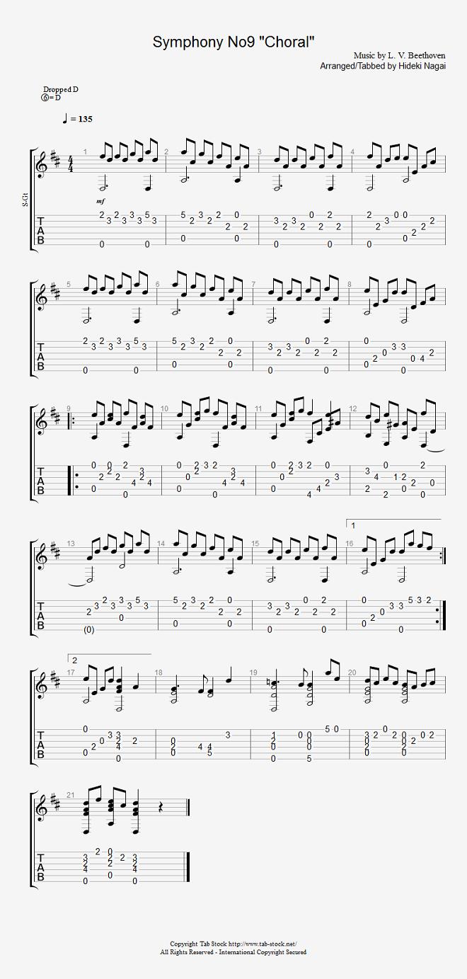 アコギ・クラシックギターの楽譜(TAB譜)交響曲第9番「合唱」(喜びの歌、歓喜の歌)(ソロギター)