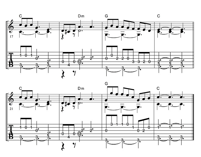 アコギ・クラシックギターの楽譜(TAB譜)夢路より2(夢見る人)(ソロギター)