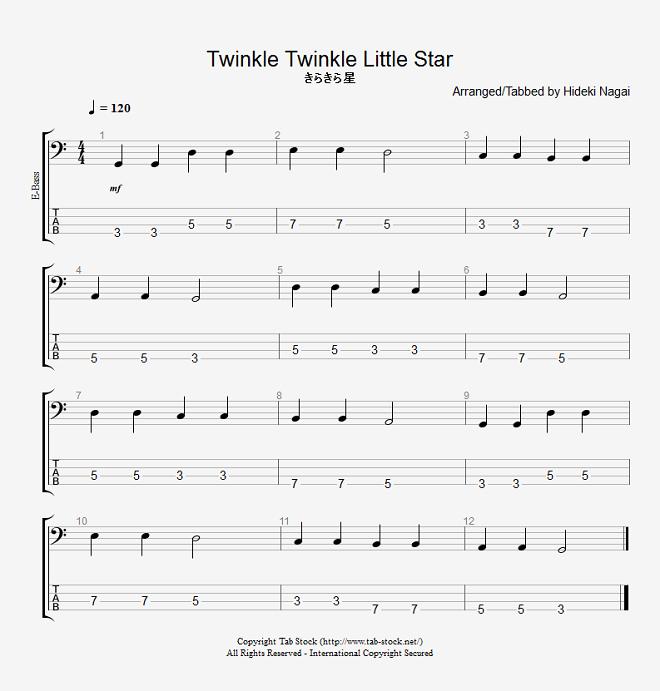 ベース練習用無料楽譜(タブ譜) きらきら星