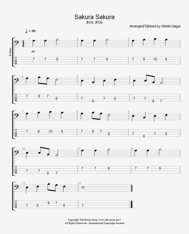 ベース練習用無料楽譜(タブ譜) さくらさくら