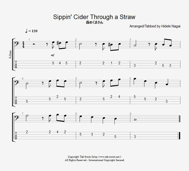 ベース練習用無料楽譜(タブ譜) 森のくまさん