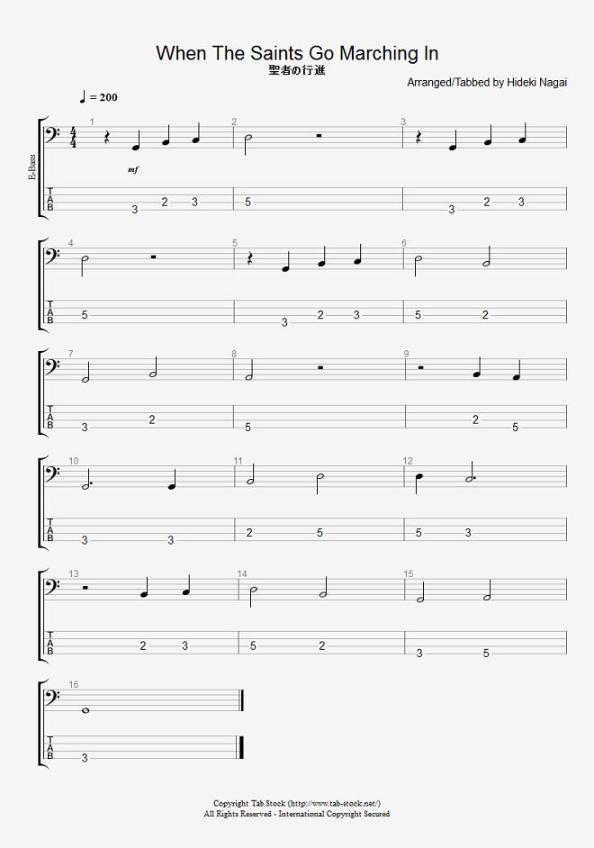ベース練習用無料楽譜(タブ譜) 聖者の行進