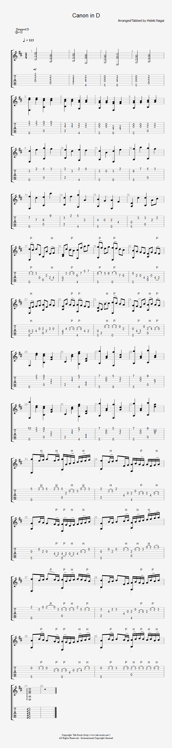 ソロギター、クラシックギター、エレキギター無料楽譜のタブストック アコギで弾くカノン(やさしい)