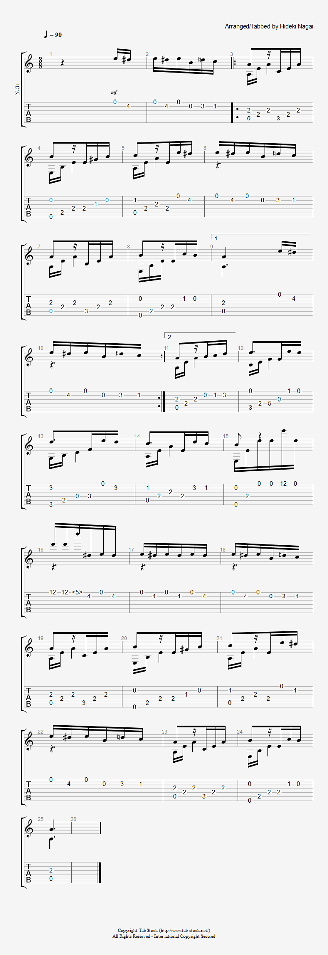 アコギ・クラシックギターの楽譜(TAB譜)エリーゼのために(ソロギター)