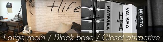 Large room / Black base / Closet attractive