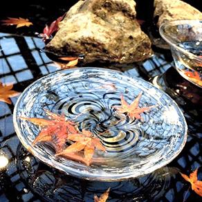 紅葉の水盤展