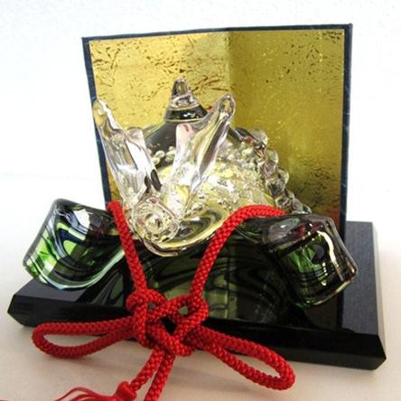 ガラスの兜飾り 山 ~GREEN~