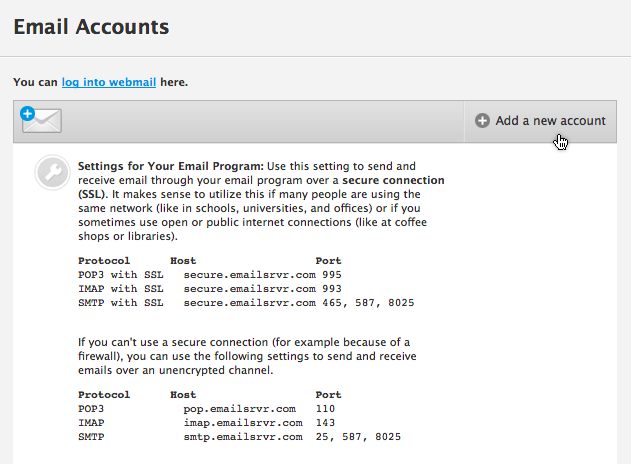 Jimdo webmail for Acc email