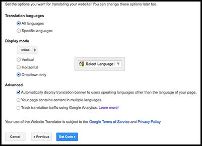 Google translate page url