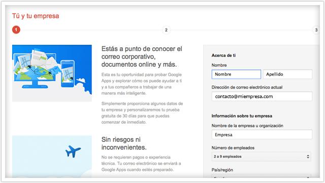 Darse de alta en Google Apps