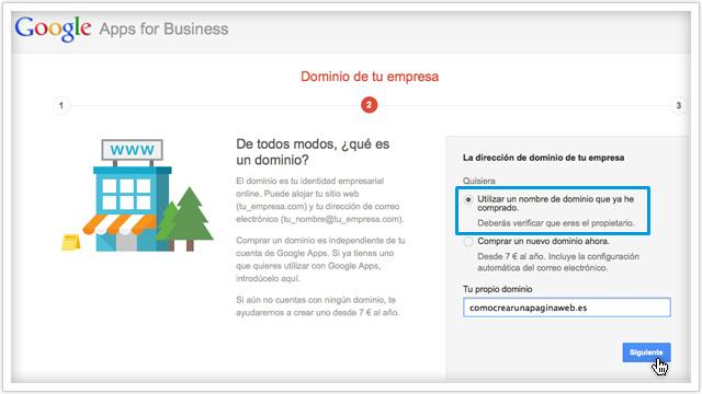 Conectar dominio con Google Apps