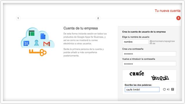 Crear cuenta en Google Apps