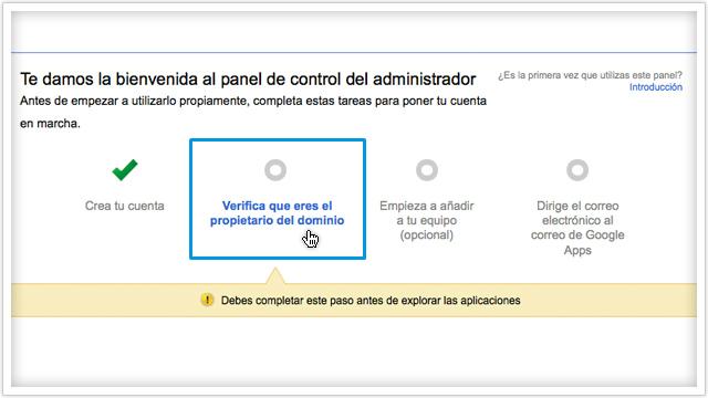 Verificar cuenta en Google Apps