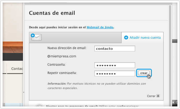 crear email