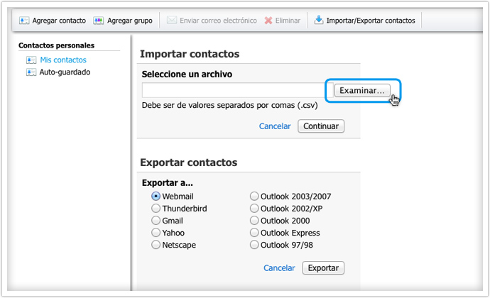 contactos email