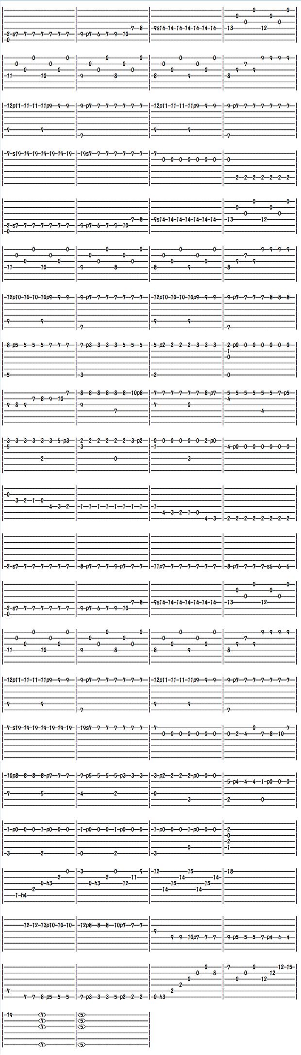 クラシックギター楽譜(タブ譜) サグレーラスのハチスズメ