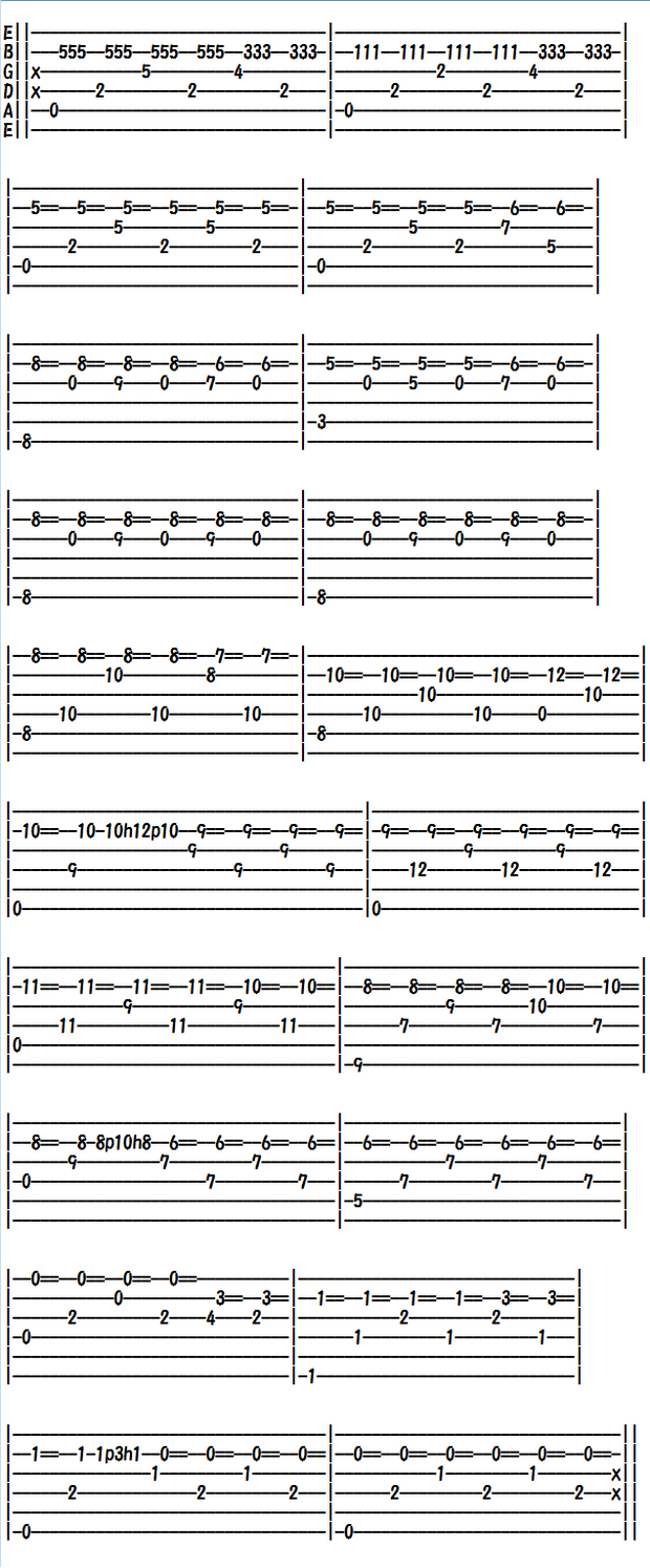 クラシックギター楽譜(TAB譜)アルハンブラの思い出