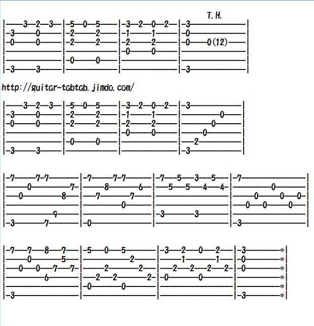 ソロギター、クラシックギター、エレキギター無料楽譜(タブ譜)オーラ・リー(ラブ・ミー・テンダー)