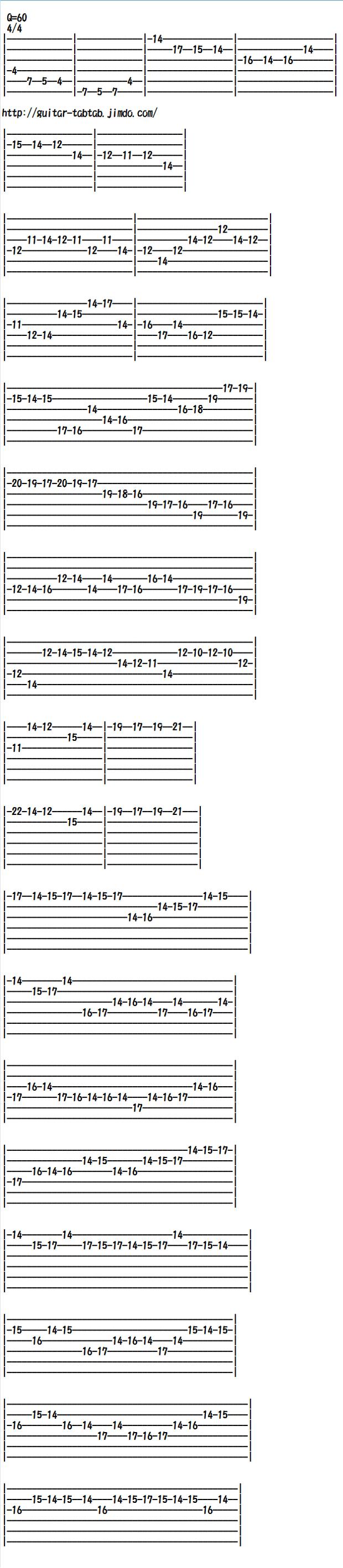 エレキギター無料楽譜(タブ譜)カノン、カノンロック(前半)