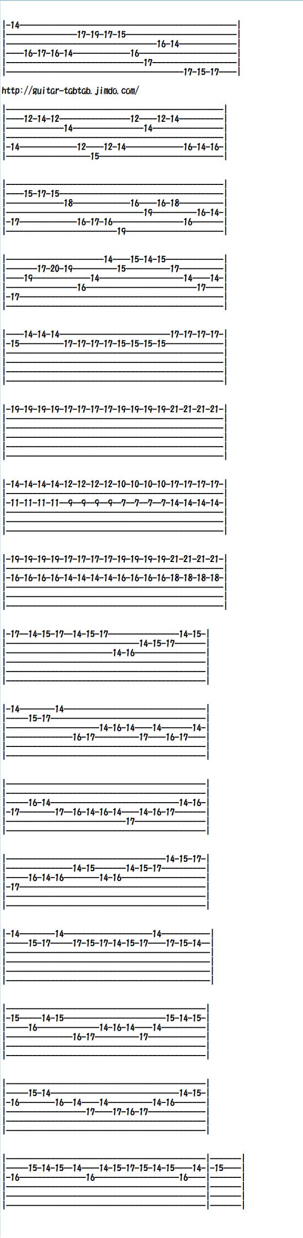 エレキギター無料楽譜(タブ譜)カノン、カノンロック(後半)