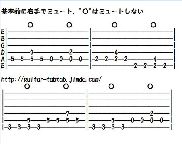 エレキギター無料楽譜(タブ譜)、カノン、カノンロック