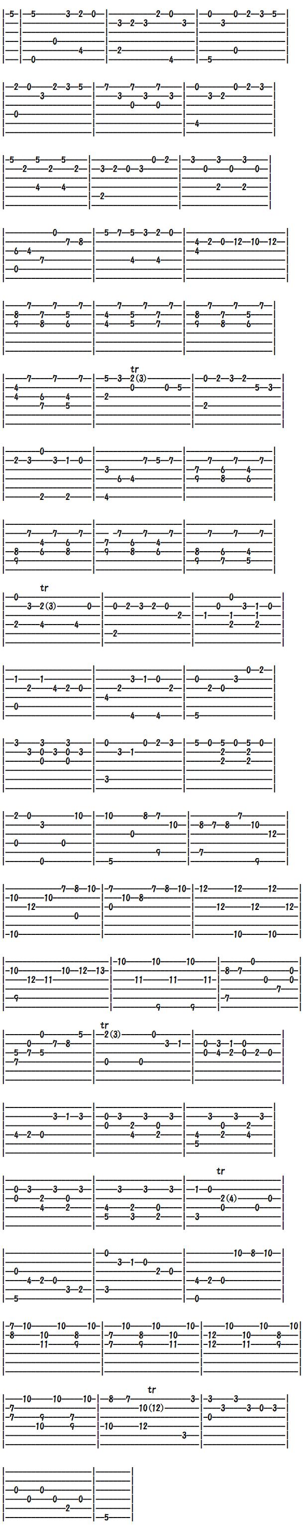クラシックギター楽譜(タブ譜) ヘンデルのクーランテ(2)