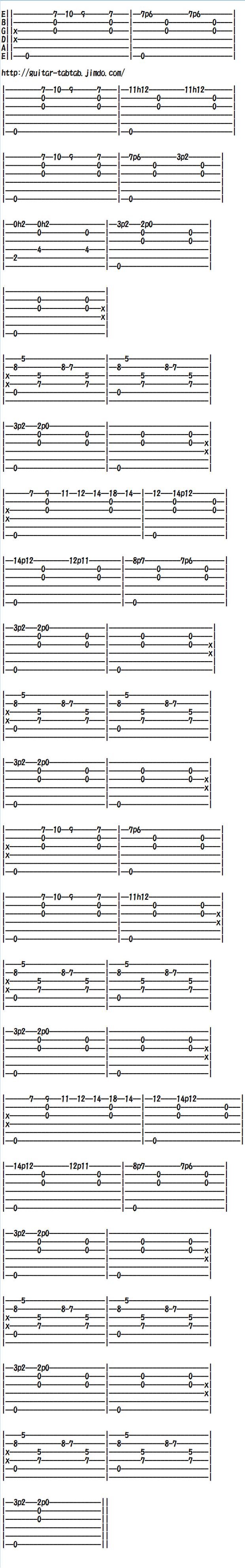 無料クラシックギター、ソロギター、アコギの楽譜(タブ譜)ギタータブタブ、グノシエンヌ