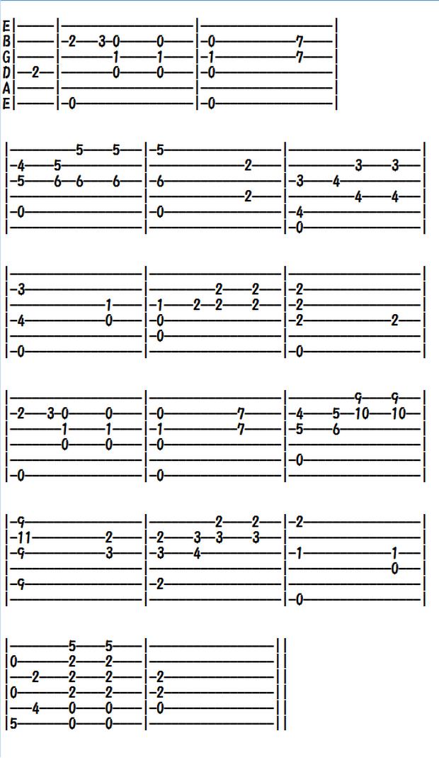 クラシックギター楽譜(TAB譜)ショパンの前奏曲