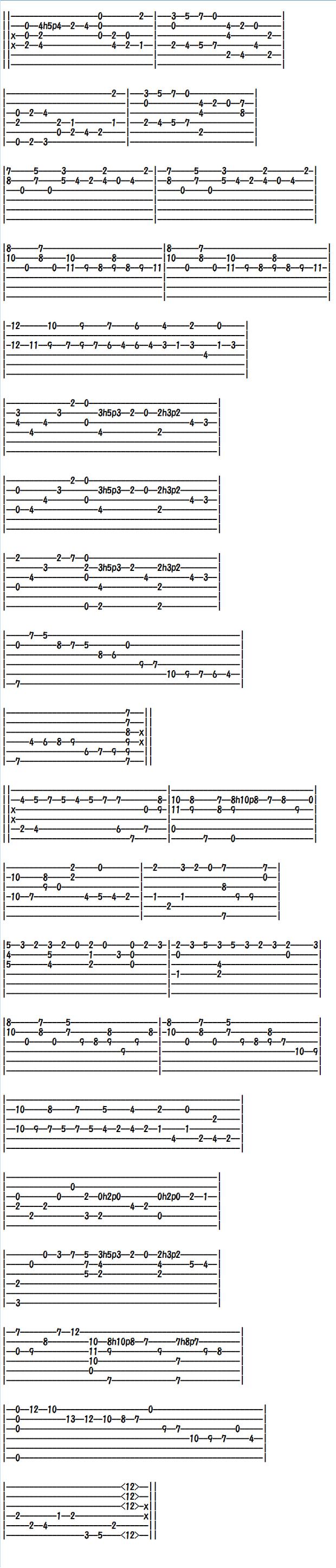 クラシックギター楽譜(タブ譜)スカルラッティのソナタ
