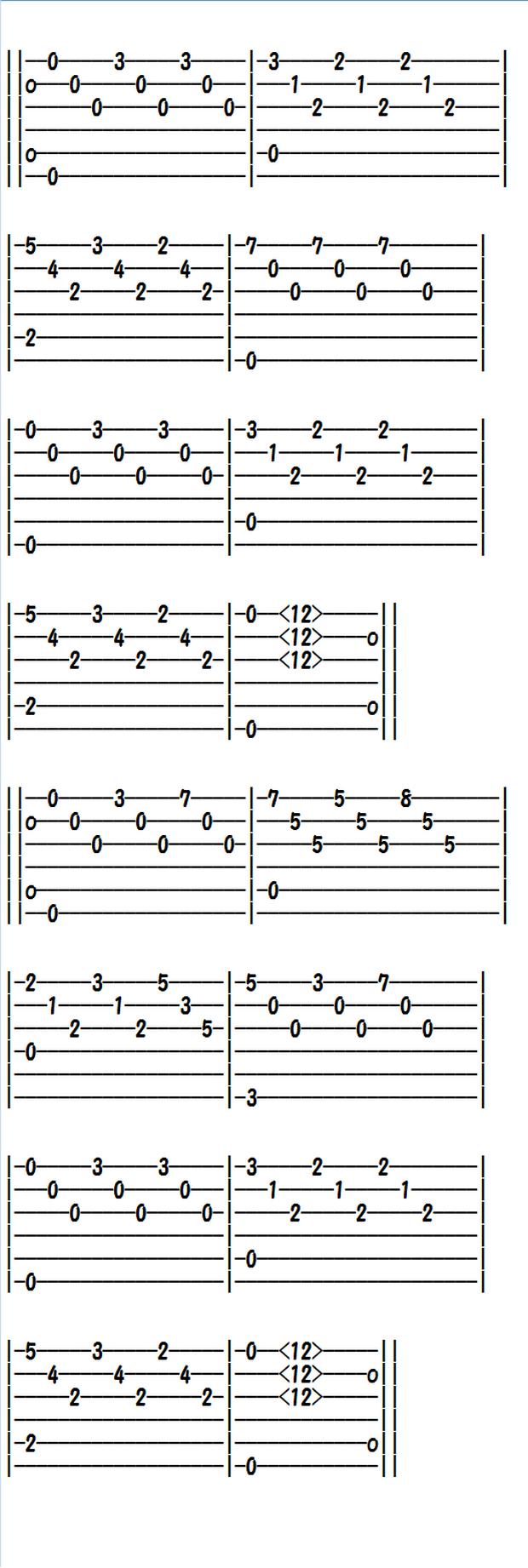 ソロギター、クラシックギター、エレキギター無料楽譜(タブ譜)タルレガの練習曲Eマイナー