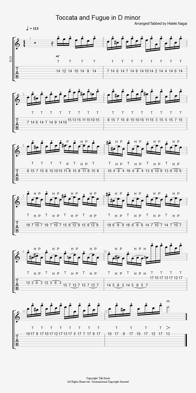 エレキギター無料楽譜(タブ譜)、バッハの「トッカータとフーガニ短調」 タブストック