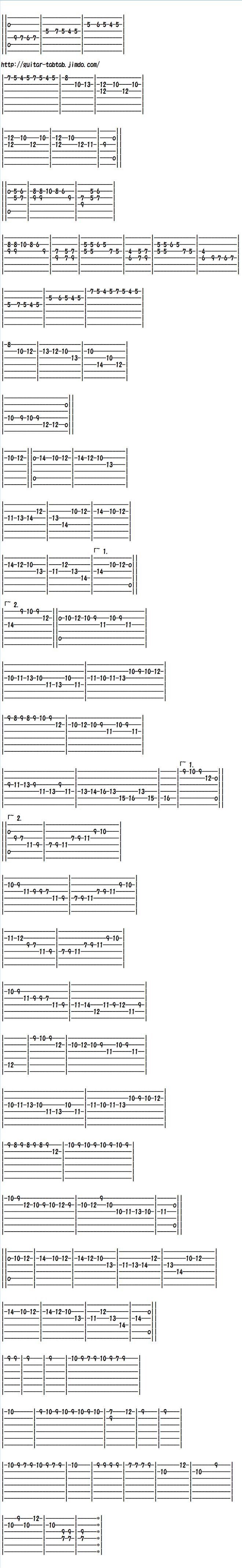 エレキギター無料楽譜(練習タブ譜)、トルコ行進曲ソロ