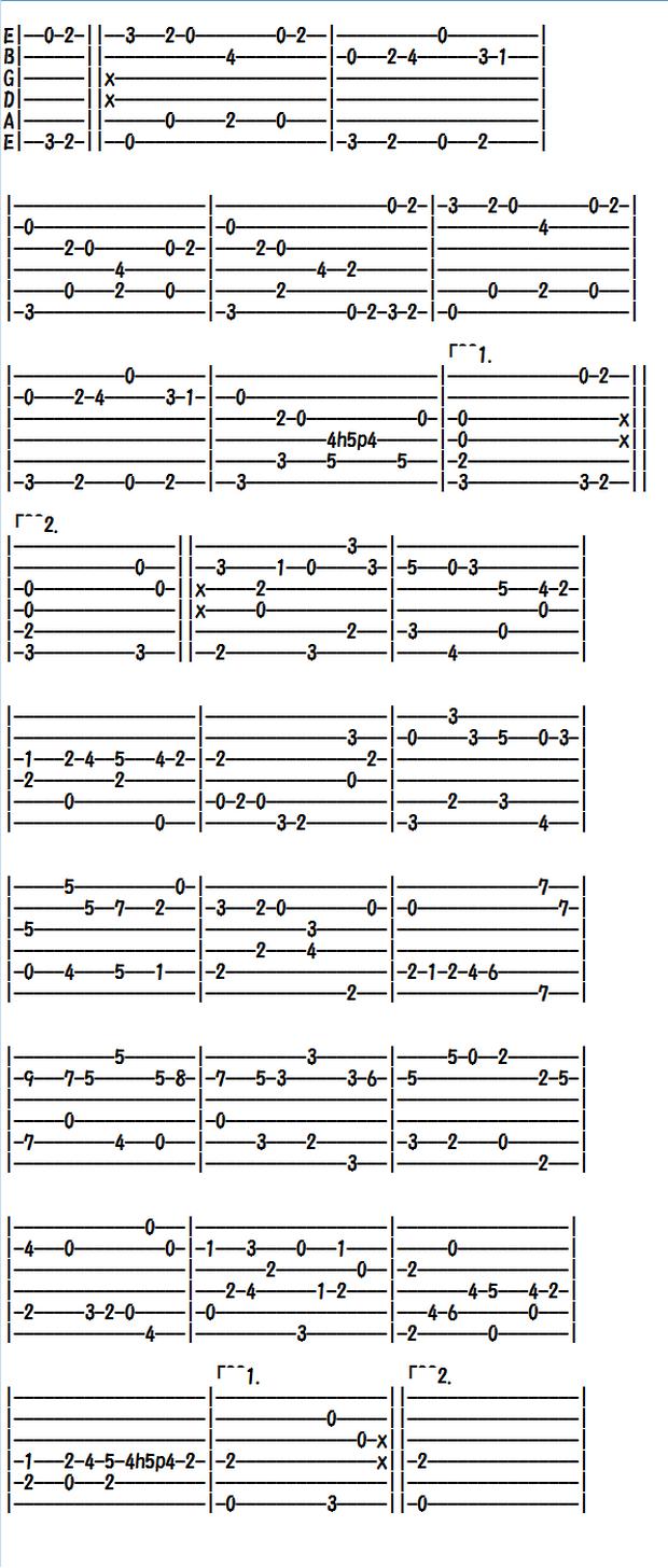 クラシックギターの無料楽譜(タブ譜)バッハ リュート組曲ブーレ