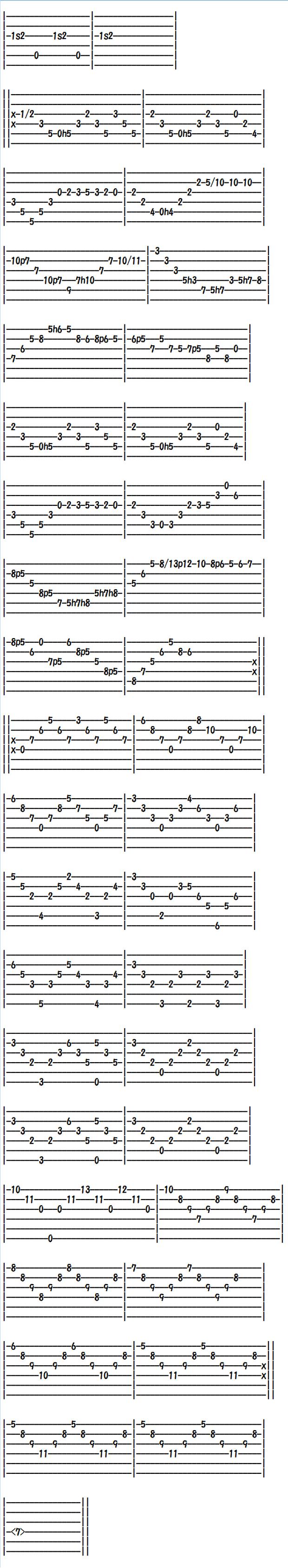 クラシックギター楽譜(タブ譜) ミツバチ