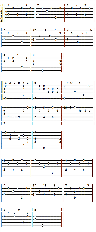クラシックギター楽譜(TAB譜)ラグリマ涙