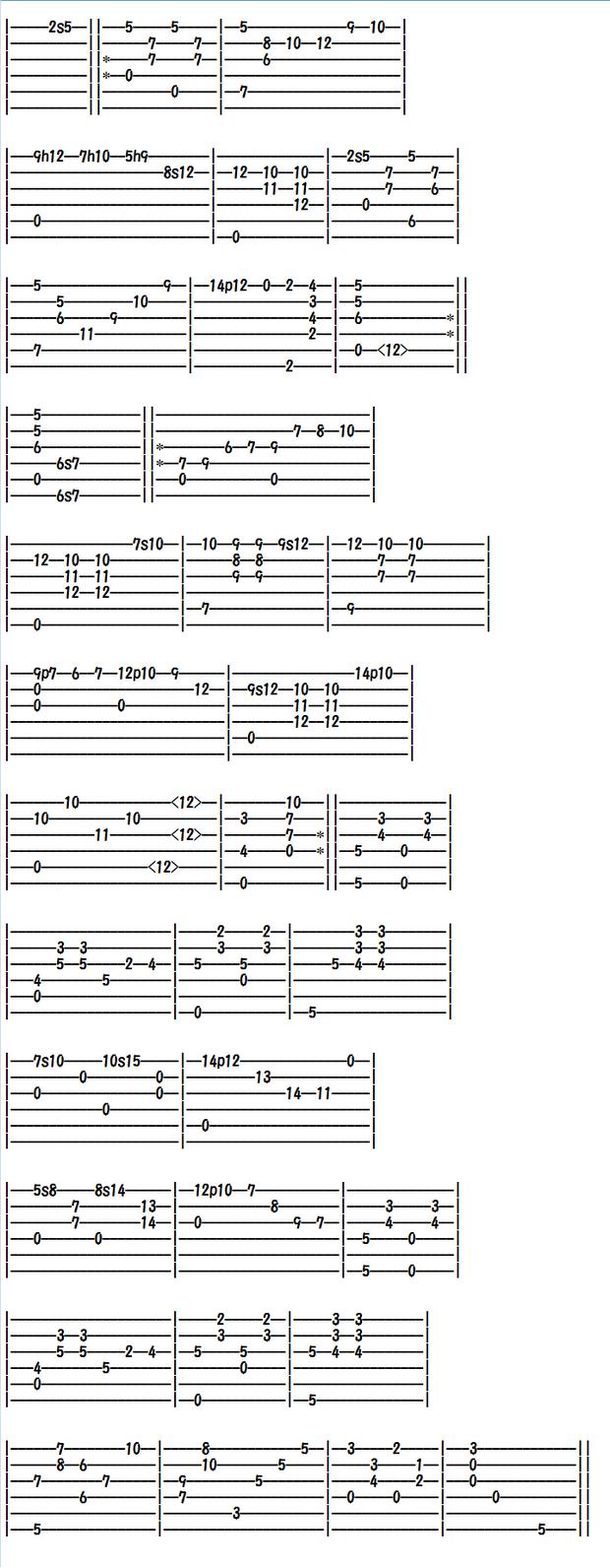 クラシックギター楽譜(タブ譜)タルレガのロシータ