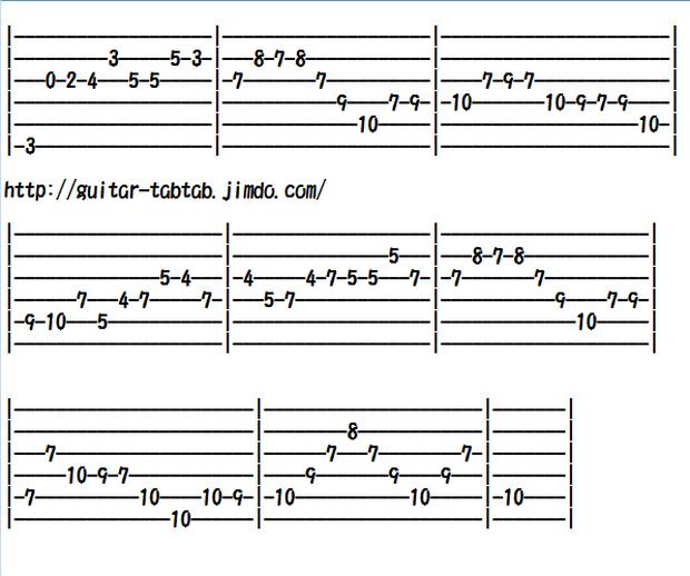 エレキギター無料楽譜(タブ譜)、バッハの「主よ人の望みの喜びよ」