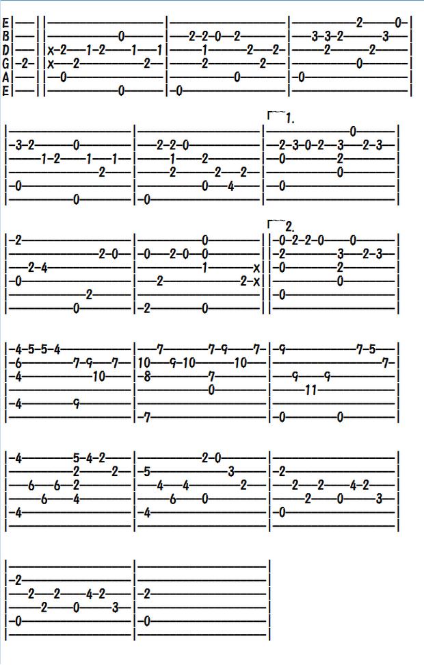 クラシックギター楽譜(TAB譜)ショパンの別れの曲