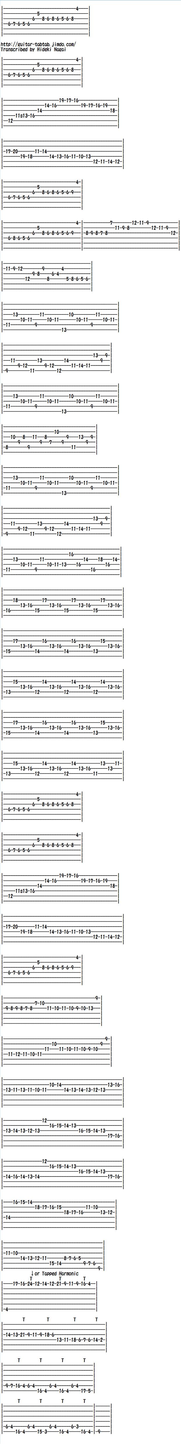 エレキギター無料楽譜(タブ譜)、ショパンの「幻想即興曲」