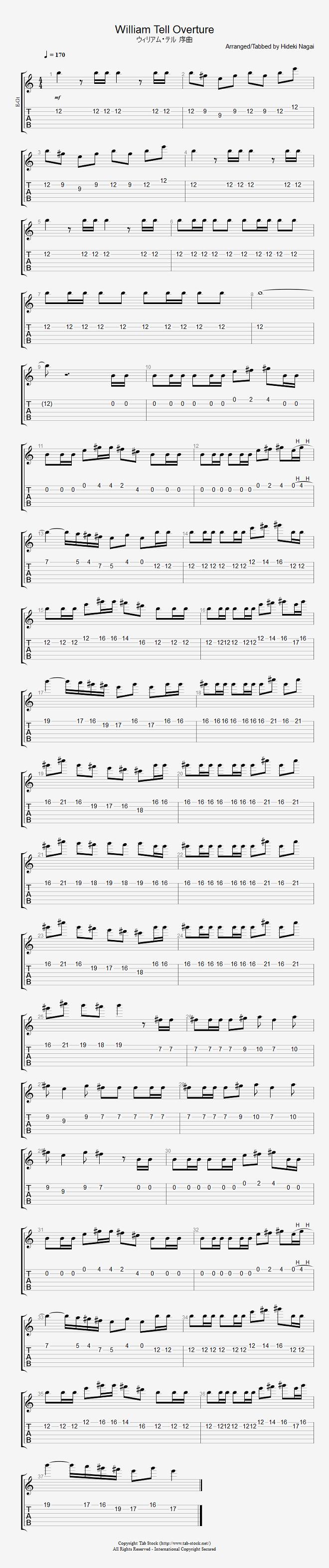 エレキギター無料楽譜(タブ譜)、ウィリアムテル序曲 タブストック