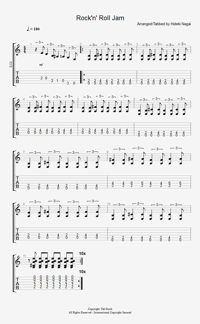 ソロギター、クラシックギター、エレキギター無料楽譜のタブストック かんたんに弾けるロックンロール