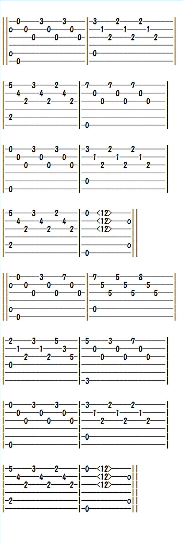 Easy Classical Guitar Sheet Music (Tabs), Etude in E minor