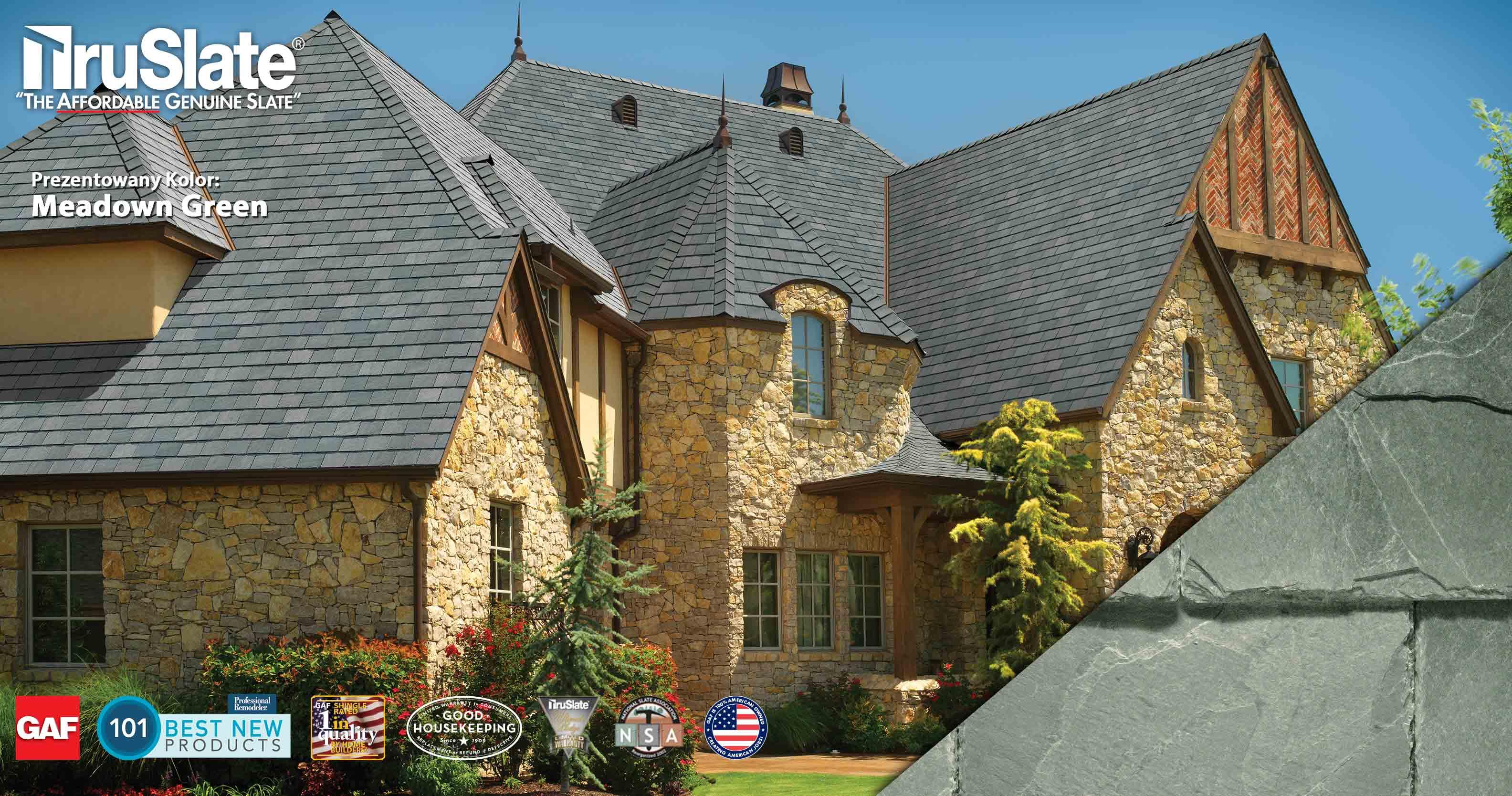 Naturalny łupek dachowy z amerykańskich kamieniołomów - GAF TruSlate