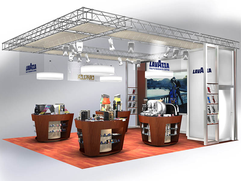 Showroom Theken Lavazza Messestand Design