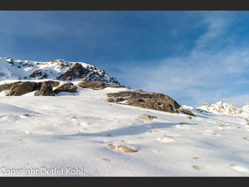 Julierpass verschneite paradiesische Alpenlandschaft auf über 2000 Meter