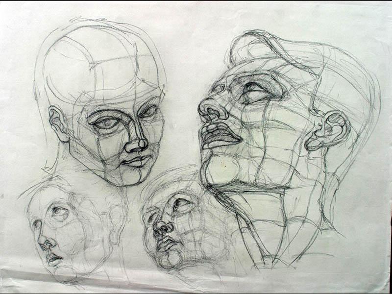 freie Grafik Portrait Zeichnungen Köpfe