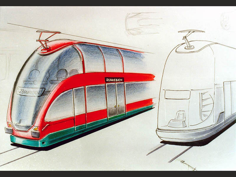 Transportation Industrial Design Doppelstock Zug Triebkopf Scribble